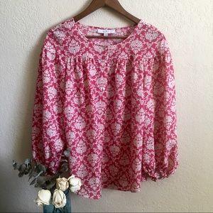 LOFT renaissance print carmine blouse nwot